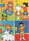 Four delightful tray puzzles showing children performing everyday tasks such as eating, cleaning teeth, getting dressed and flushing the toilet.  A brilliant set for supporting early years PSE topics.