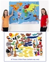 A large fabric world map with a selection of colourful felt motifs, which is perfect for brightening up a classroom and is an excellent resource for fun interactive learning for children of all ages.    Ages:  3+   Price:  £119.95 inc. VAT