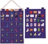This beautifully made fabric wall hanging decorated with brightly coloured letters of the alphabet feature fun pockets which contain a felt object beginning with that letter.