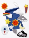 Colourful felt motifs depcting familiar symbols representative of different weather conditions, children will enjoy identifying the weather illustrated by these handy motifs