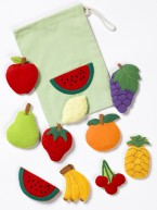 A set of realistically detailed felt motifs in small and large size depicting a range of familiar fruits.  Brilliant for table top activities and colourful displays.   Ages:  3+ 