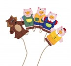 Beautifully made finger puppets featuring the colourful characters from the traditional fairy tale Three Little Pigs.  Excellent for storytelling and velcro pads make them perfect for displays   Ages:  3+  Price:  £6.50 Inc. VAT