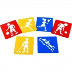 Encourage children to explore different types of physical exercise with this fabulous set of washable stencils depicting familiar sporting activities.  Ideal for creative activities and suitable for different skill levels.   Price: £2.95 inc. VAT