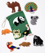 A realistically detailed range of felt motifs depicting familiar animals from around the world available in small and large excellent for table top activities and colourful displays.
