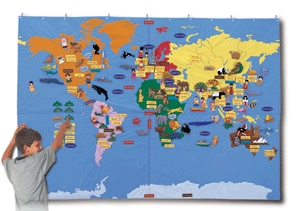 Giant world map fabric wallhanging with 184 motifs for Environmental graphics giant world map wall mural
